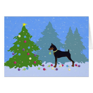 Min Pin in the Forest Decorating Christmas Tree Card