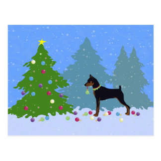 Min Pin in the Forest Decorating Christmas Tree Postcard