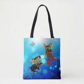 Min Pin Scuba Diving Under the Sea Tote Bag