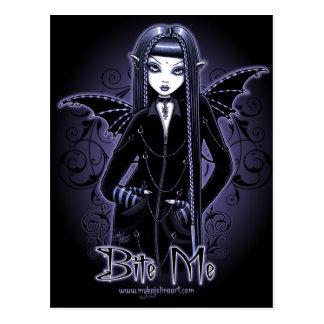 """""""Mina"""" Gothic Blue Bite Me Vampire Fairy Postcard"""