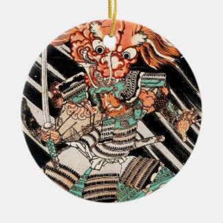 Minamoto Yorimitsu Kuniyoshi Utagawa hero art Round Ceramic Ornament