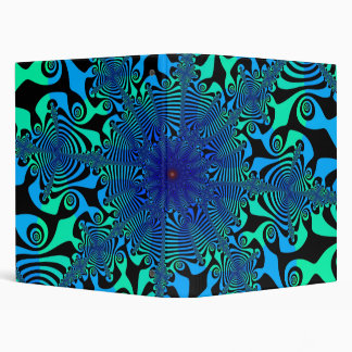 Mind Freak in Blue & Green 3 Ring Binders