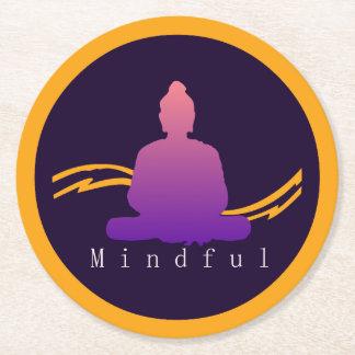 """""""Mindful"""" Beautiful Buddha. Round Paper Coaster"""