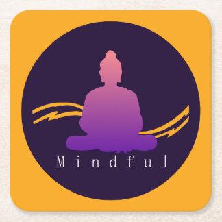 """""""Mindful"""" Beautiful Buddha. Square Paper Coaster"""