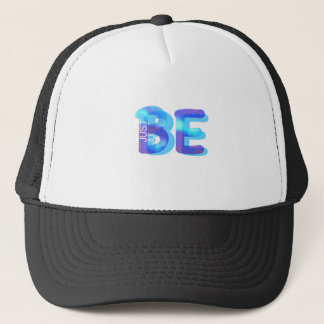 Mindfulness Gift JUST BE Neon Blue 3D Can Add Name Trucker Hat