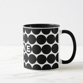MINE on Black Polk Dots Mug