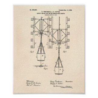 Mine Shaft Safety 1899 Patent Art Old Peper Poster