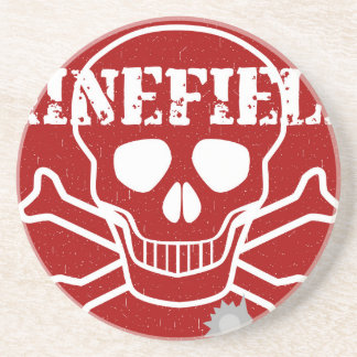 Minefield Sign Beverage Coasters
