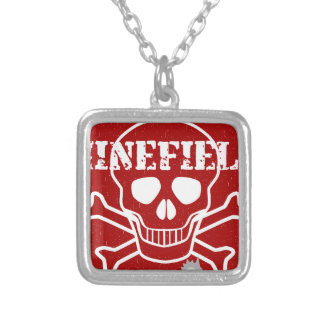 Minefield Sign Silver Plated Necklace