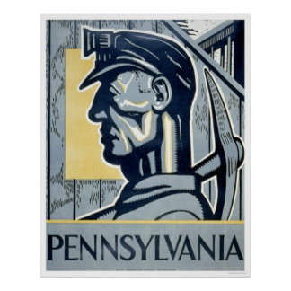 Miner In Pennsylvania 1937 WPA Poster