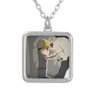 Miner Silver Plated Necklace