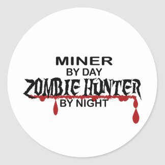 Miner Zombie Hunter Classic Round Sticker