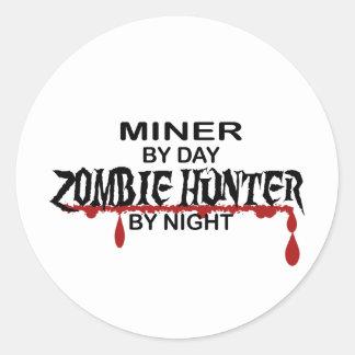 Miner Zombie Hunter Round Sticker