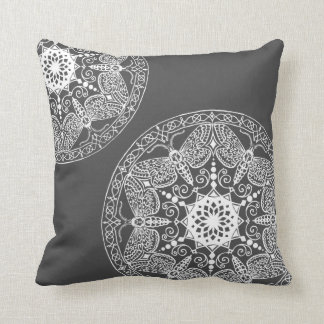 Mineral Grey with White Embellishments Throw Pillow