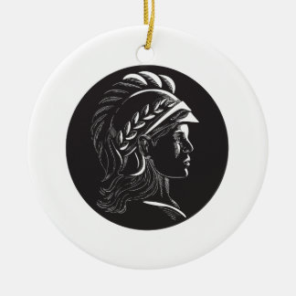 Minerva Head Side Profile Oval Woodcut Ceramic Ornament