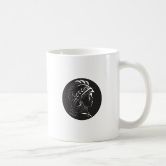 Minerva Head Side Profile Oval Woodcut Coffee Mug