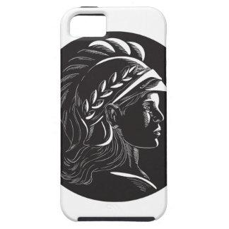 Minerva Head Side Profile Oval Woodcut iPhone 5 Case