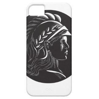 Minerva Head Side Profile Oval Woodcut iPhone 5 Cover