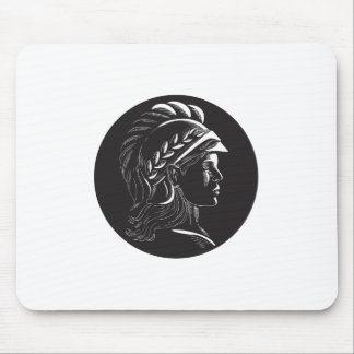 Minerva Head Side Profile Oval Woodcut Mouse Pad