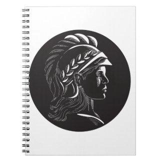 Minerva Head Side Profile Oval Woodcut Notebooks