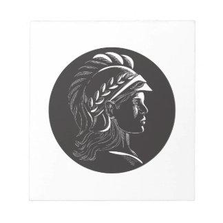 Minerva Head Side Profile Oval Woodcut Notepad