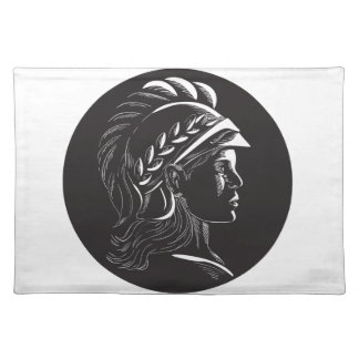 Minerva Head Side Profile Oval Woodcut Placemat