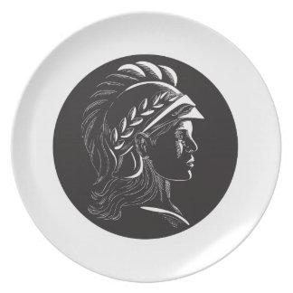 Minerva Head Side Profile Oval Woodcut Plate