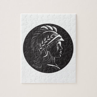 Minerva Head Side Profile Oval Woodcut Puzzles