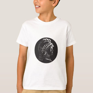 Minerva Head Side Profile Oval Woodcut T-Shirt