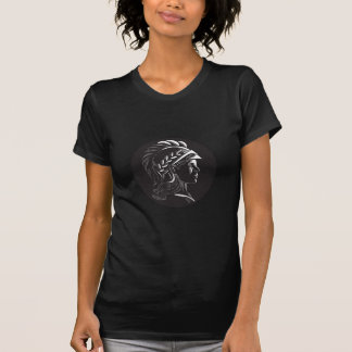 Minerva Head Side Profile Oval Woodcut T-Shirt