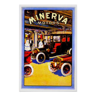 Minerva ~ Vintage Belgian Automobile Ad Poster