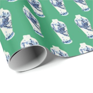Ming Vase on Kelly Green by Redux121DesignStudio Wrapping Paper