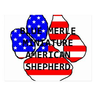 mini am shep paw name flag blue merle postcard