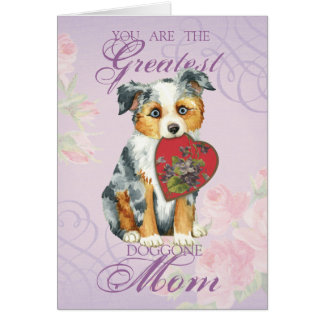 Mini American Shepherd Heart Mom Card