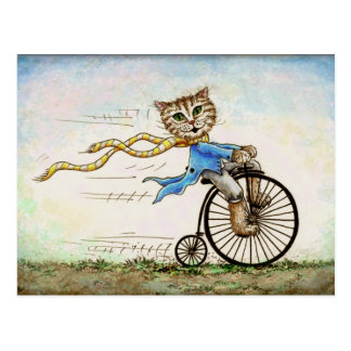 Mini Art Cat Bicycle OldFashioned Postcard