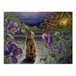 Mini Art Rabbit Dreams Fantasy Postcard