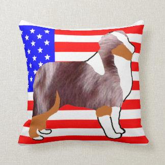 mini aus silhouette on flag red merle throw pillow