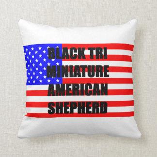 mini aussie name flag black tri throw pillow