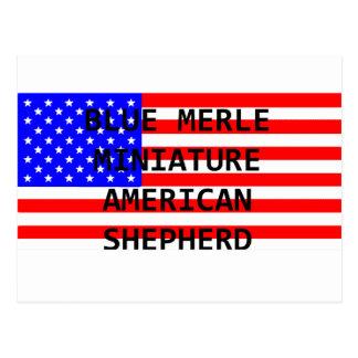 mini aussie name on flag blue merle postcard