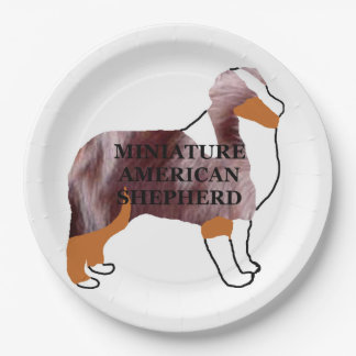 mini aussie red merle name silo paper plate