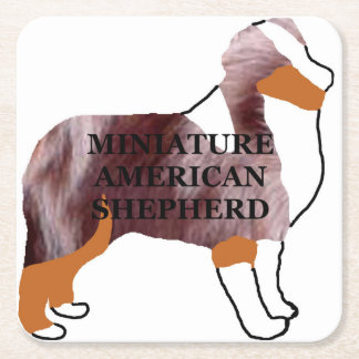 mini aussie red merle name silo square paper coaster