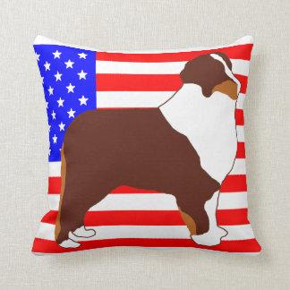 mini aussie silhouette on flag red tri throw pillow