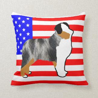 mini aussie silo on flag blue merle throw pillow