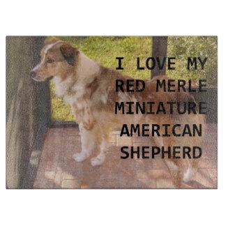 mini Australian_shepherd red merle love w pic Cutting Board