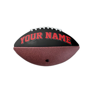 Mini BLACK RED AND CHARCOAL Personalized Football