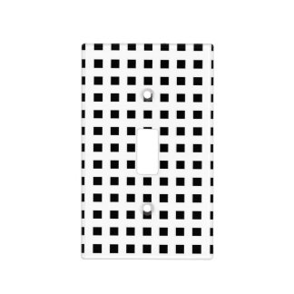 Mini Black Squares White Light Switch Cover