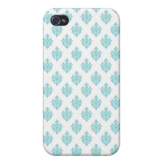 Mini blue damask vintage wallpaper pern iPhone 4/4S cover