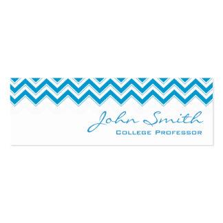 Mini Blue Zigzag Professor Business Card