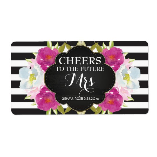 Mini Champagne Label Bridal Shower Favour Shipping Label