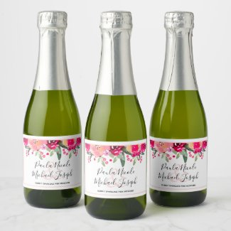 Mini Champagne Split Labels Purple Floral Blooms